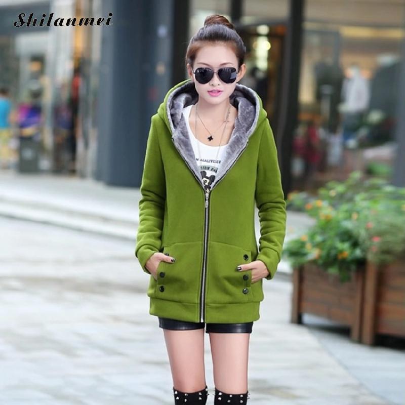 843dc6f02a2 2018 Autumn Winter Women Plus Size Long Hoodie Jackets Pocket Zipper Fleece  Coat Casual Thicker Women