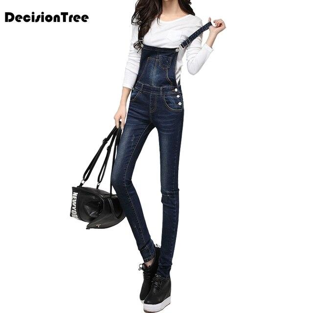 2019 new plus dark blue denim long rompers for teenagers bodysuit cute overalls women jeans jumpsuits