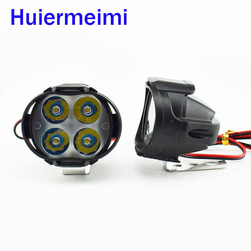 2 PCS Motorcycles Led Headlight HeadLamps 12V 24V 1000Lm Scooters Fog Spotlight 6500K White Motorbike Work Lamp Spot Head Light