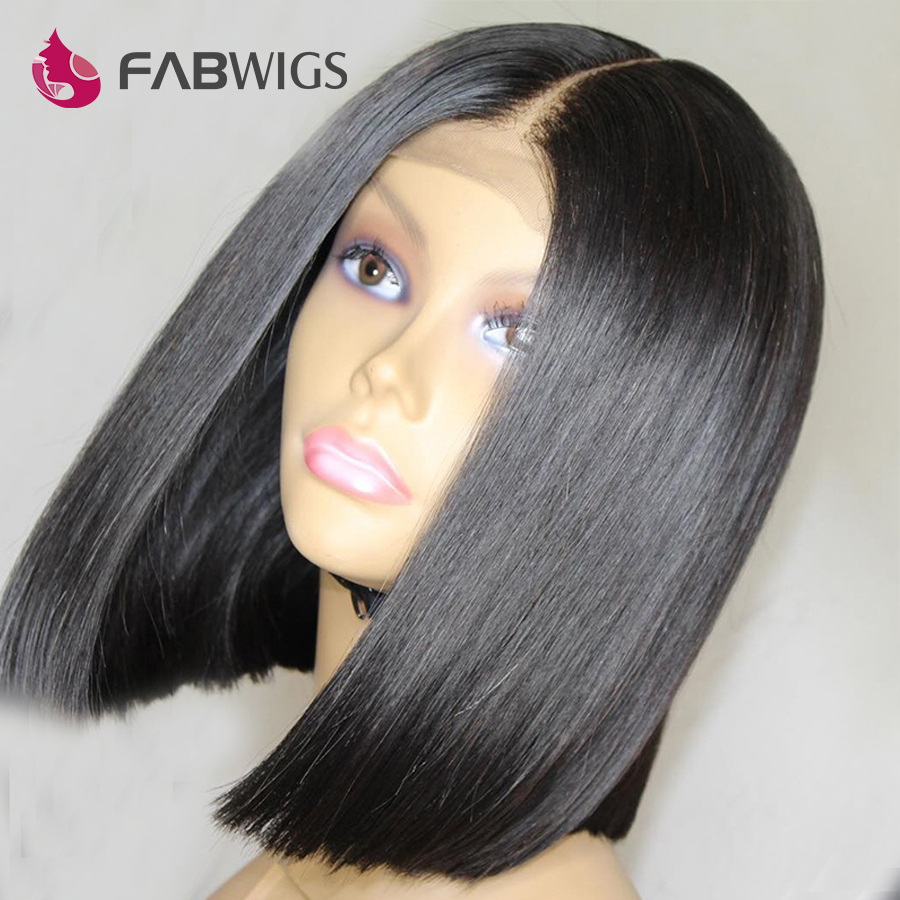 Fabwigs Peruvian Straight Bob Wig 180 Density Lace Front Human Hair Wigs with Baby Hair Short