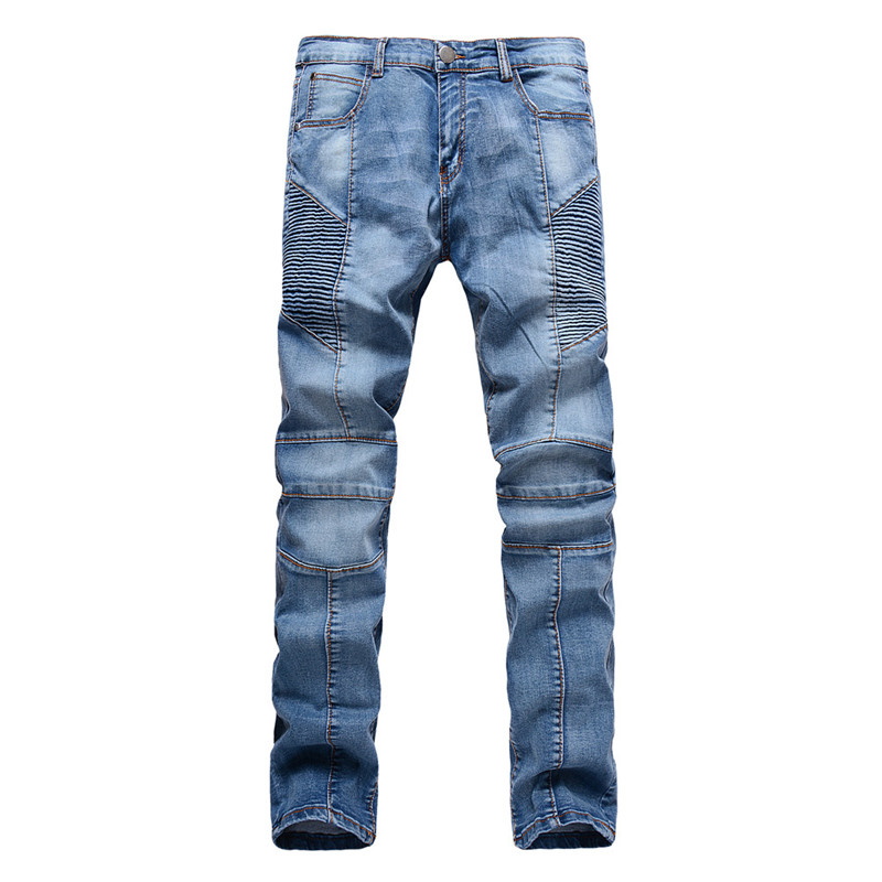New 2016 Represent Clothing Fashion Mens Folds Designed Pencil Pleated Jeans Slim Denim Fit Biker Pants Jeans Skinny Trousers 2017 new fashion slim mens pencil pants