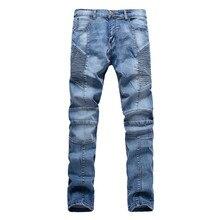 New 2016 Represent Clothing Fashion Mens Folds Designed Pencil Pleated Jeans Slim Denim Fit Biker Pants Jeans Skinny Trousers