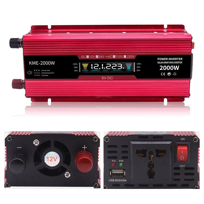 Inversor 12v 220v 2000W transformador de voltaje coche convertidor 12 a 220 Inversor de energía Solar Auto cargador Inversor adaptador de pantalla