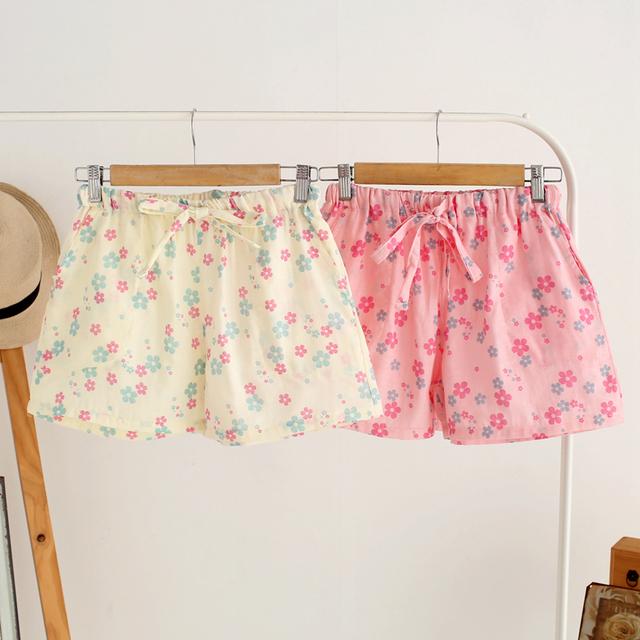 Para mujer de algodón Shorts Shorts barato para mujeres lindo Floral gasa cortocircuitos del sueño del algodón de verano