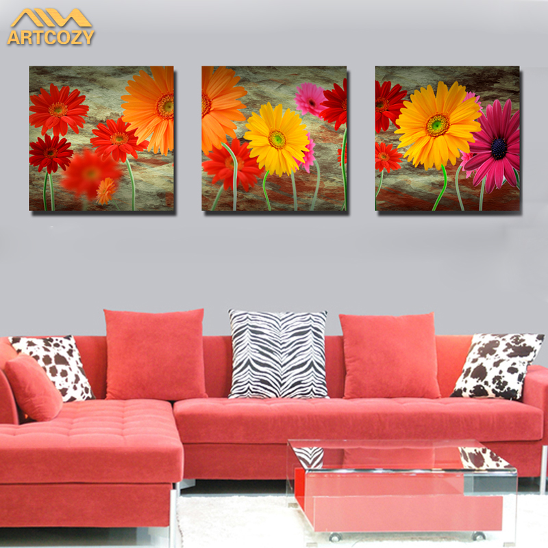 Artcozy 3 Piece No Frame Canvas Printing Painting Flowers Pictures For Home Decor Sitting Room no frame canvas