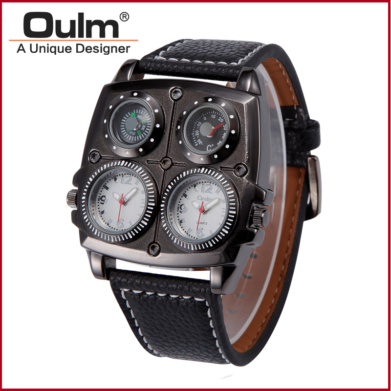 OULM Brand Adventure Men's Quartz Military Watches with Dual Movt Compass & Thermometer Function Leather Band Wrist Men watch thermometer watch compass watch two time zone display dual movt quartz watch for men oulm 1349