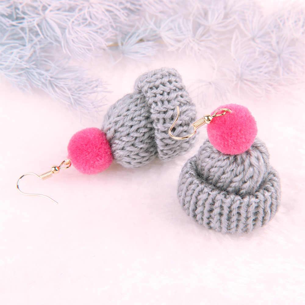 Korean Version Of Autumn Winter Lovely Knitted Wool Hat Earrings temperament long fluffy ball earrings female Gift