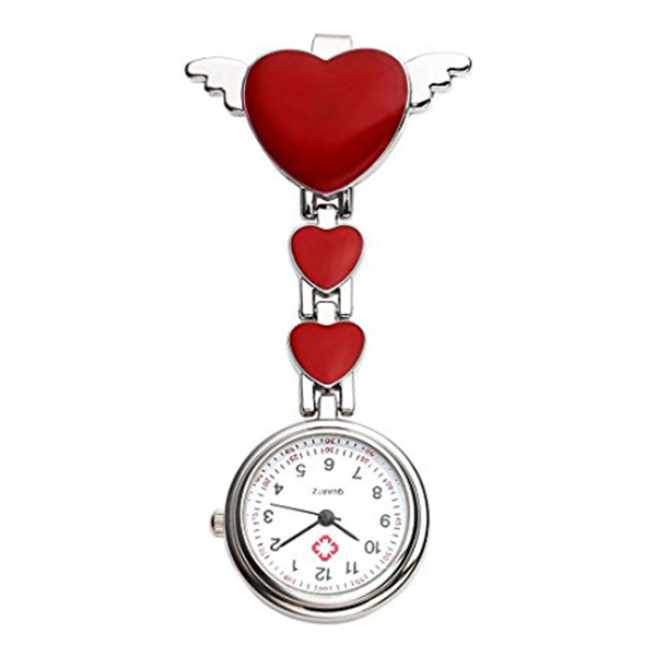 Womens Girls Heart Angle Wing Nurse Fob Clip On Brooch Hanging Pocket Watch,5COL
