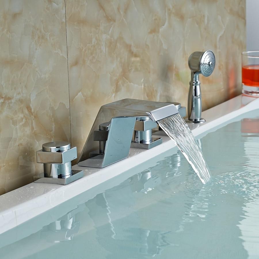 Modern Chrome Brass Waterfall Bathroom Tub Faucet W/ Hand Sprayer Mixer Tap