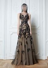 Heißer Verkauf Neue Mode A-linie U-ausschnitt Applique Zuhair Murad Abendkleider 2015 Schwarz Spitze Kleid Formales Abend-kleid kleider