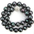 "the 10mm Black South Sea Shell 2014 charming Pearl Necklace Beads Jewelry Jasper 18 ""AAA Natural Stone"