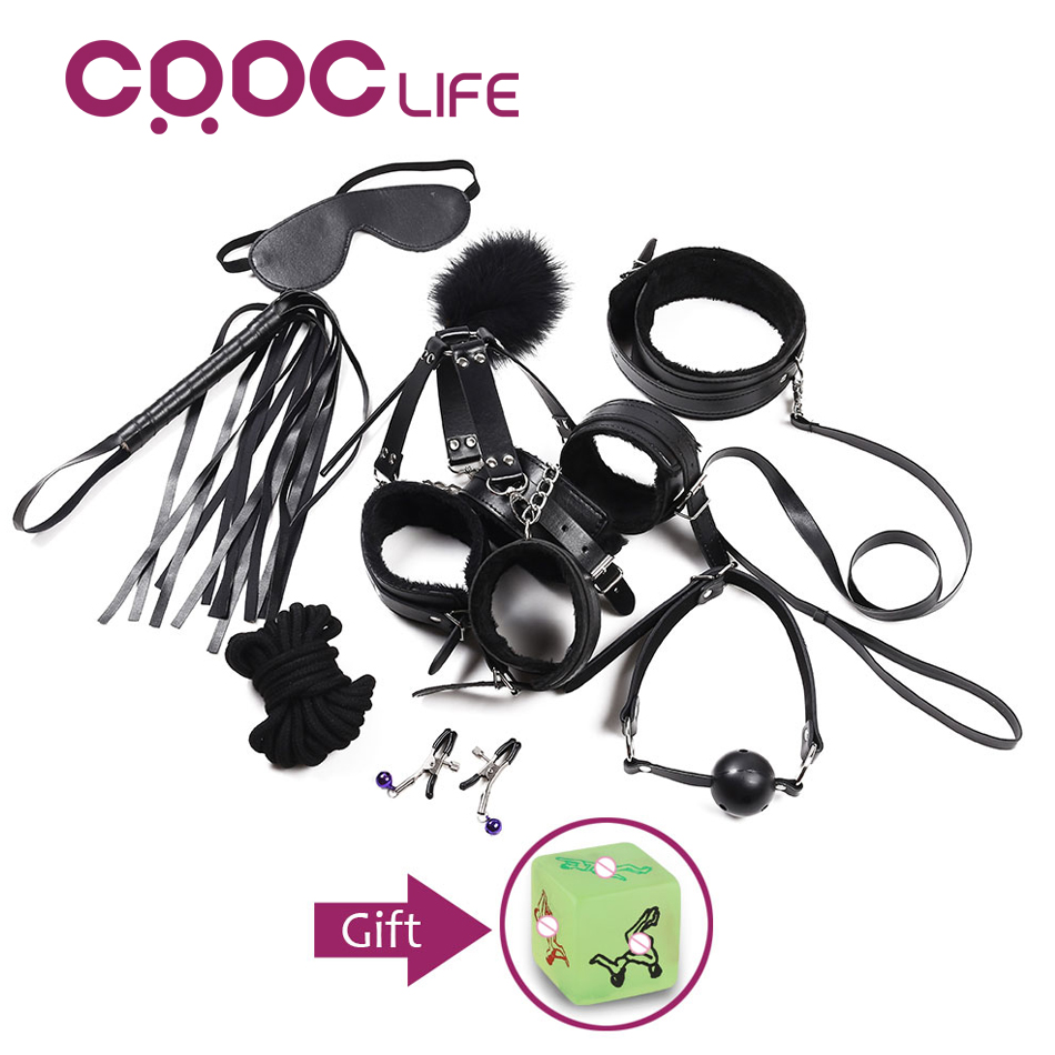 CRDC 10PCS  Adult Sex Toys for Couples Erotic Toys SM Bondage Harness Leather Restraints BDSM Bondage Sexy Slave Games Products мойка blanco classik 45s silgranit 521308 антрацит