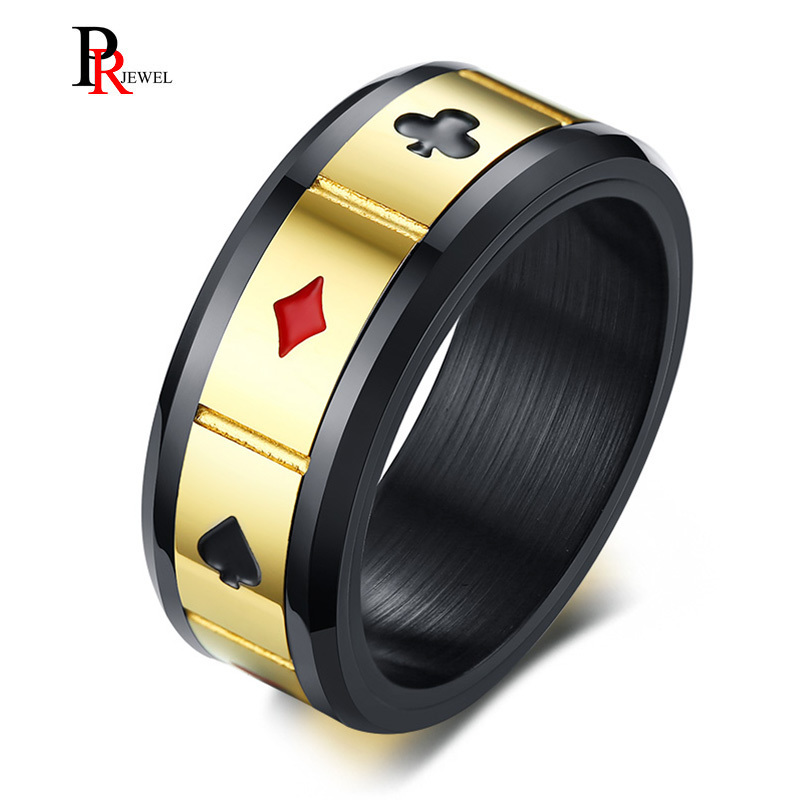 Men's Peace Luck Fortune Wisdom Love Spinner Ring Playing Cards Suits Raja Vegas Masculin Bague Gifts