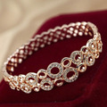 USTYLE  Real Gold Plated High Quality Luxury Rhinestone Circles Bangle Bracelets for Women Wholesale Free Shipping UB0467