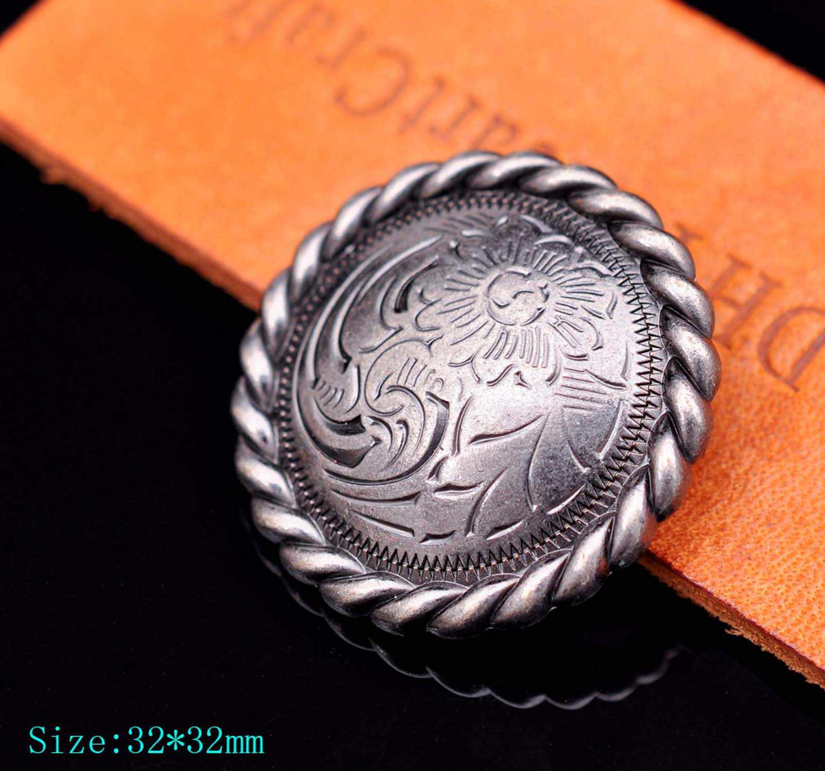 10X Art Flower Engraved Leathercraft Wallet Hardware Decor Conchos Screw back