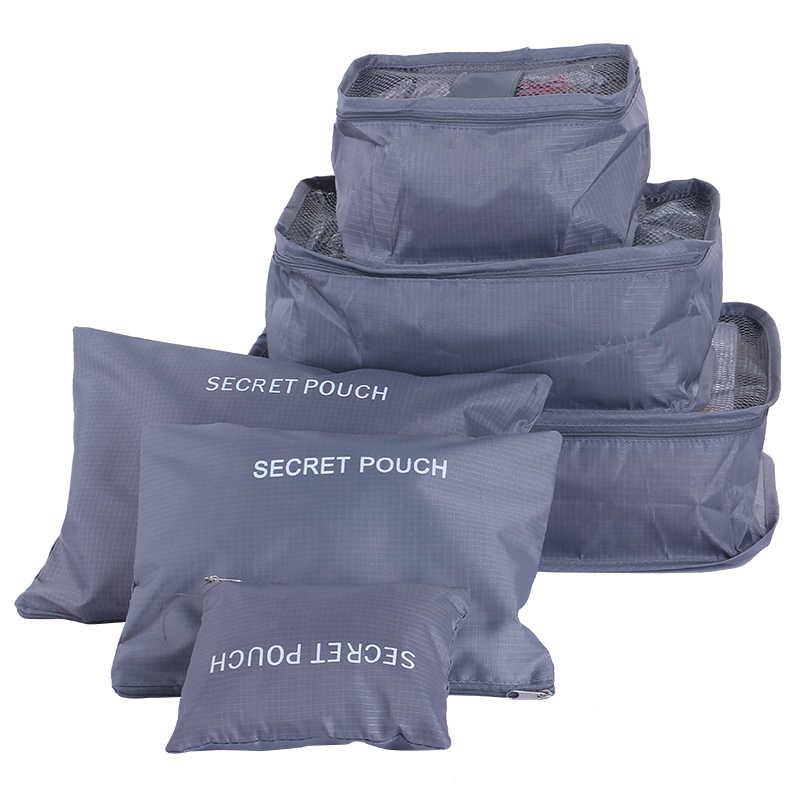 LITTHING 6 unids/set organizador de bolsas de viaje de alta capacidad cubos de embalaje de malla ropa accesorios de viaje funcionales equipaje