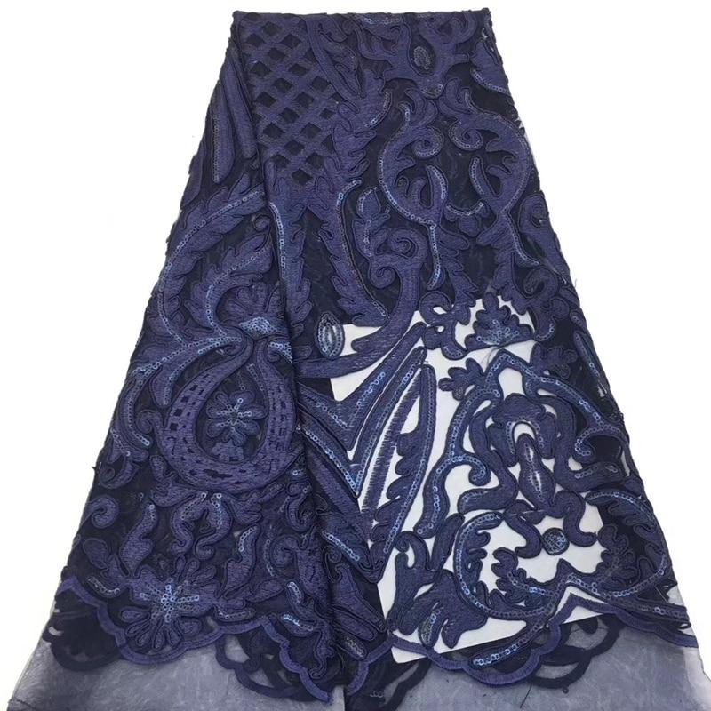 VILLIEA dentelle africaine tissu 2019 haute qualité nigérian bleu marine dentelle tissu avec paillettes broderie Tulle dentelle pour mariage-in Dentelle from Maison & Animalerie    1