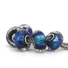 Strieborný trblietavý korálik MODRÁ štýl Pandora Silver Glass BLUE Bead DIY Jewelry