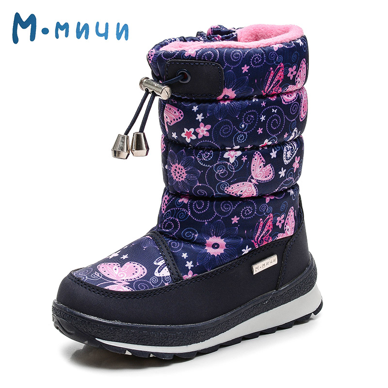 MMNUN Brand New Butterfly Winter Girls Boots Shoes Girls Cute Warm Mid-Calf Winter Boots Girls Children Winter Boots Size 26-31 2016 winter new soft bottom solid color baby shoes for little boys and girls plus velvet warm baby toddler shoes free shipping