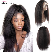 Ishow Yaki Straight Lace Front Human Hair Wigs For Women Pre Plucked Hairline With Baby Hair Brazilian Remy Human Hair Lace Wig