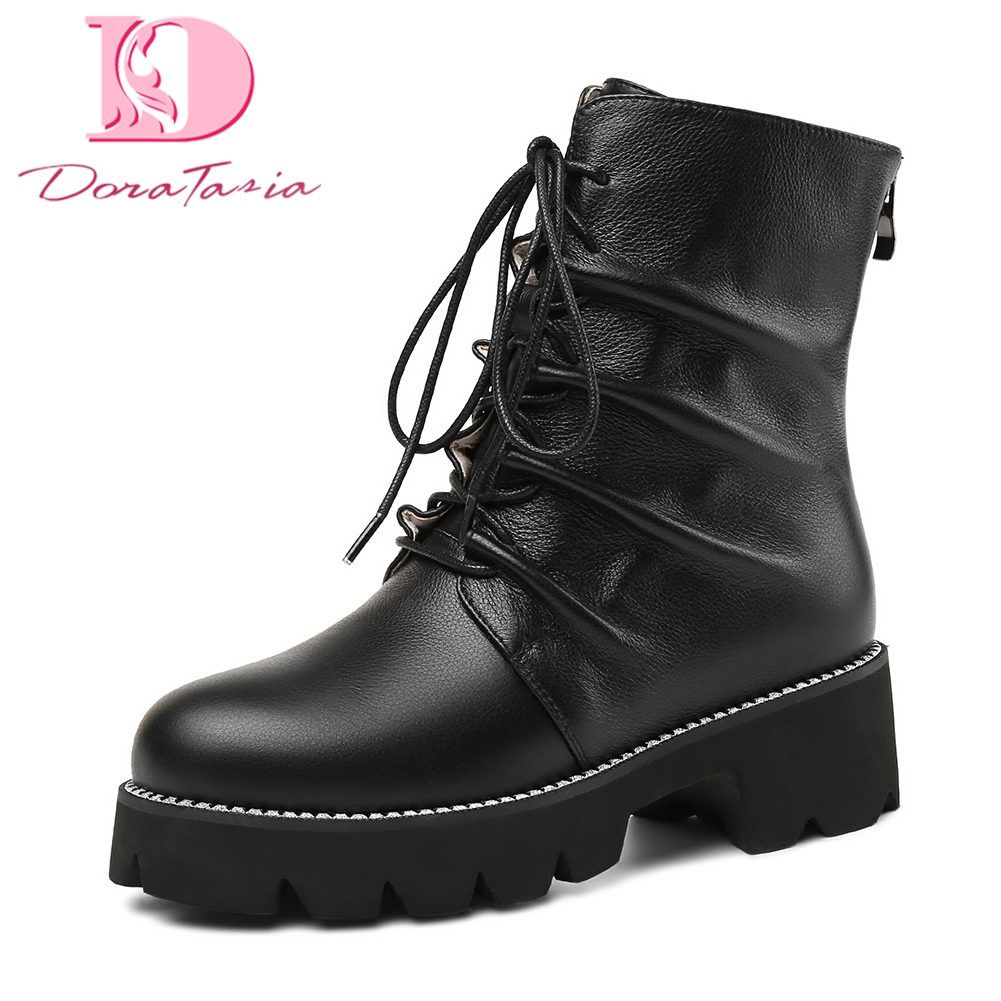 Doratasia new plus Size 33-43 Cow Leather Zip Up Women Boot Shoes Women platform Square Heels Hot Sale Boots Shoes WomenDoratasia new plus Size 33-43 Cow Leather Zip Up Women Boot Shoes Women platform Square Heels Hot Sale Boots Shoes Women
