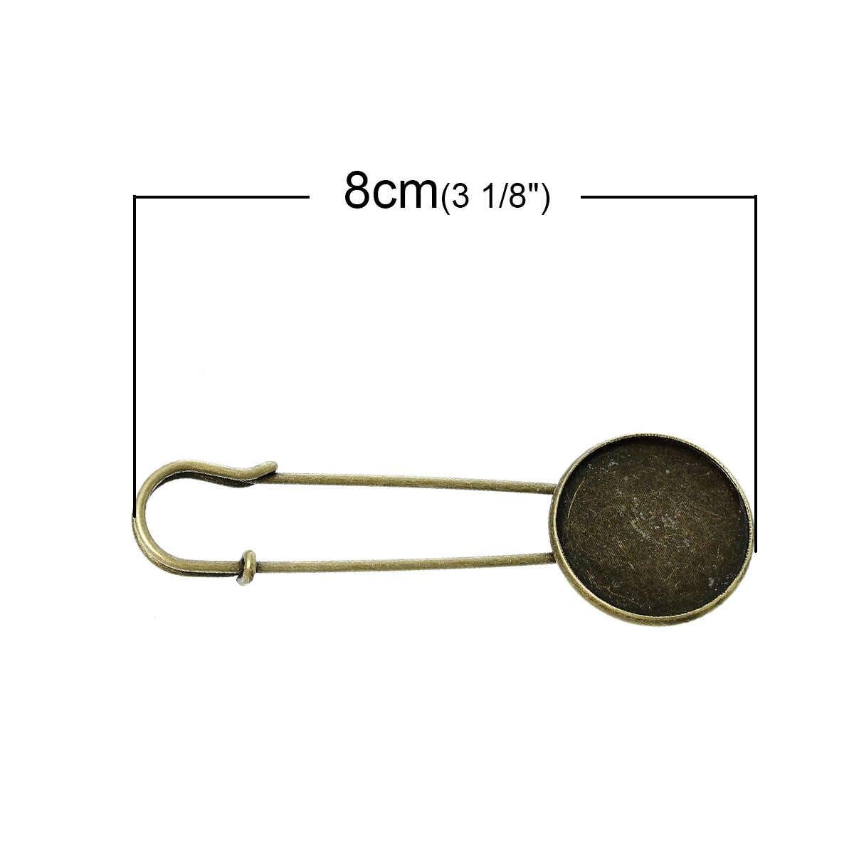 "DoreenBeads סגסוגת סיכות ממצאי עגול עתיק ברונזה הגדרות קרושון (מתאים 25mm) 80mm (3 1/8 "") x 27mm (1 1/8""), 1 חתיכה 2015 חדש"