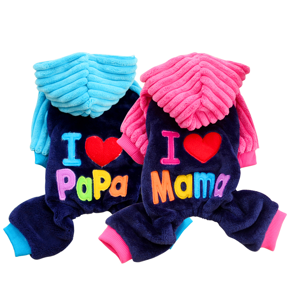 Amor papá mamá ropa de perro pequeño mono de invierno Chihuahua mascota gato ropa abrigo cálido pijamas de yorkkie XXS-L