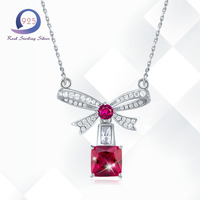 Merthus 2 25ct Red Topaz Cute Bow Tie Necklace For Women