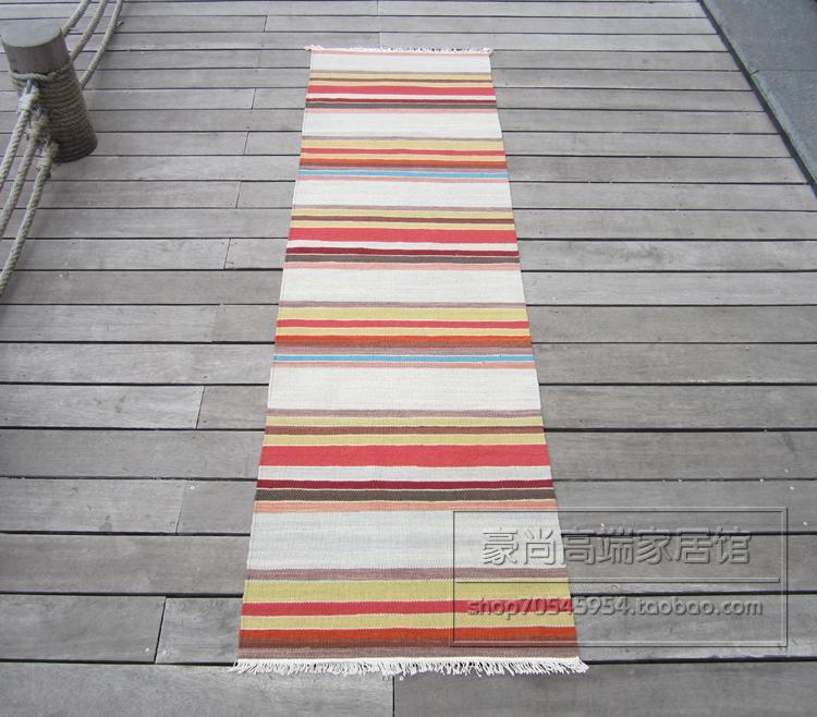 KILIM Kilim fait à la main en laine tressée tapis balcon couloir couverture couverture cuisine couverture indien importation rayures 28gc149yg4