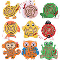Wooden Magnetic Pen Maze Toys Cute Animal Cartoon Toy Brain Teaser Intellectual Jigsaw Board Kids Early Educational Puzzle Game