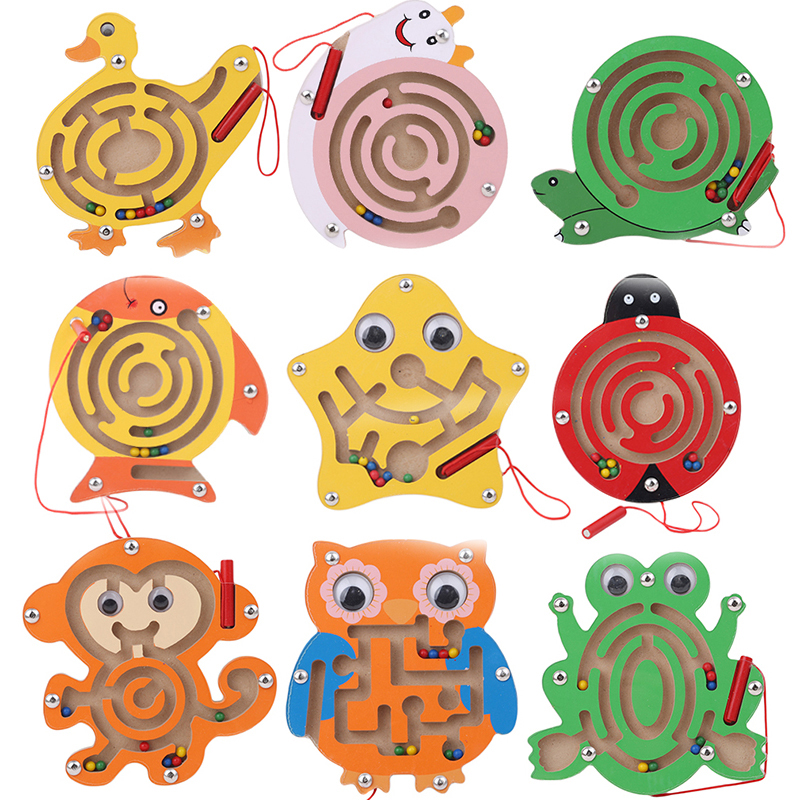 Wooden Magnetic Track Maze Toy Cute Animal Cartoon Toy Brain Teaser Intellectual Jigsaw Board Kids Early Educational Puzzle Game(China)