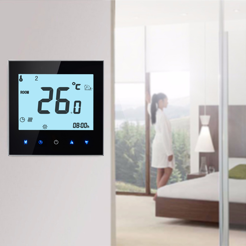 Multi-protection LCD Display Touchscreen Electric Heating Thermostat Temperature Controller For Modbus Communication dc 24v touchscreen programmable modbus boiler thermostat for on