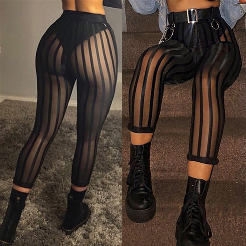 Sexy Mesh Striped Leggings Women Striped Mesh Perspective Pants Knee Length Slim Trousers Club Wear