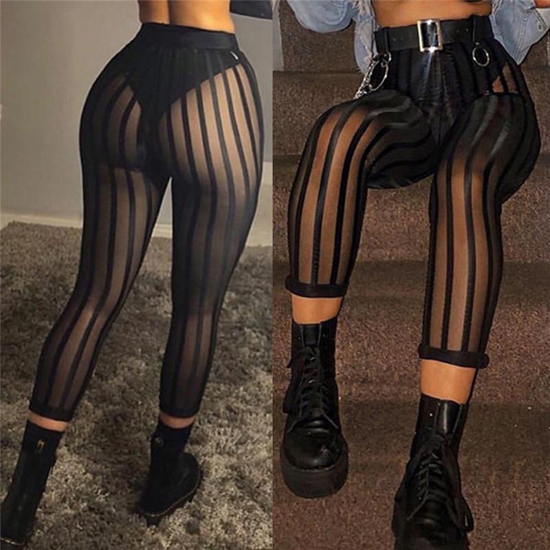 Sexy Mesh Striped Leggings Women Striped Mesh Perspective Pants Knee Length Slim Trousers Club Wear