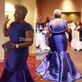 Sereia da Luva do Tampão Azul Navy Satin Frisada Sheer Voltar Elegante Formal Partido Prom Vestidos Tribunal Trem Mulheres Plus Size vestido de Noite vestidos