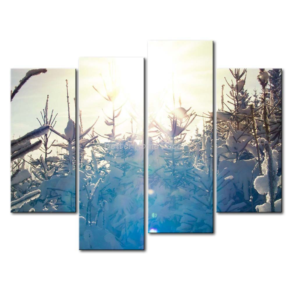 3 Piece Blue Wall Art Painting Sunlit Snowy Pine Trees Print On Canvas The Picture Landscape 4 5 Pictures Art Painting The Paintingsprint On Canvas Aliexpress