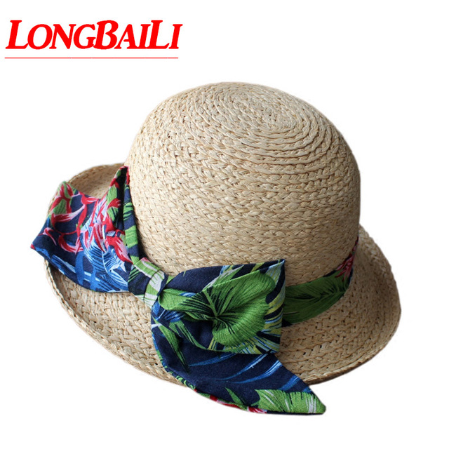aad1cd67445 Summer Trendy Raffia Straw Big Bow Sun Beach Hat For Women Curved-up Brim Bucket  Caps Female PGSX013
