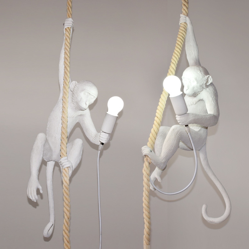 Art Deco White Monkey Pendant Light Sculpture Resin Gorilla Hemp Rope Pendant Lamp White Resin Sculpature Monkey Pendant Light elk head pattern faux suede hunting hat