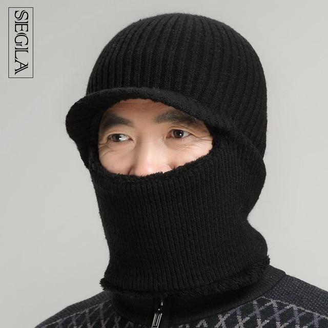 SEGLA Dad Hat Winter Snow Men Balaclava Hat Muslim Skullies Beanies Wool Knitted Earflaps Windproof Thermal Plush Wide Brim Cap
