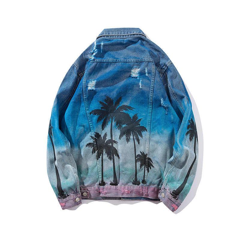 016e02cd3 Palm Coconut Tree Printing 2018 Hot Denim Bomber Jacket Men's Jeans Jacket  High Street Loose Hip Hop Hole Jaqueta Masculina