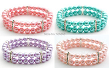 hot deal buy 2 rows pink/blue/purple dog pearls necklace collar,pet jewelry/s m l