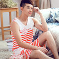 New Arrive 100% Cotton Vest Shorts In Summer Lovers Pajamas Male Leisure Sleepwear Suit