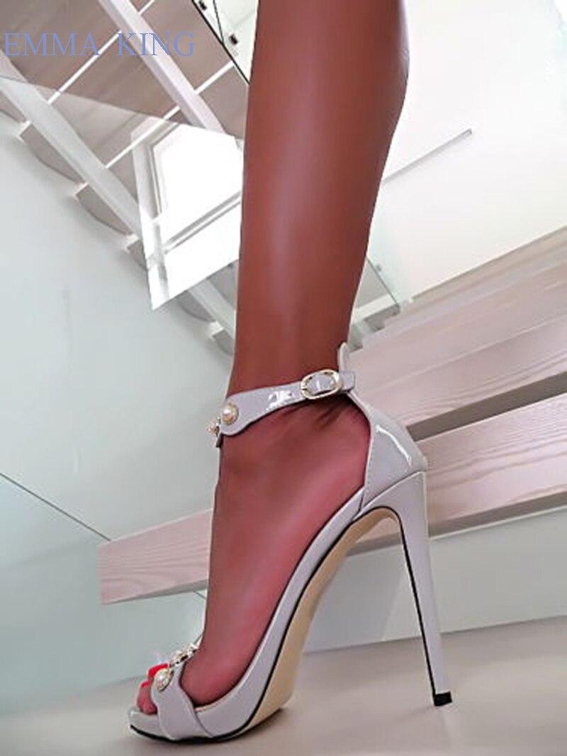Cuero Correa Sandalias Bombas Sexy Mujer Tacones Hebilla Zapatos Picture Gladiador Damas As De Verano Tacón Gris Con Altos Perla Elegante g8q0F