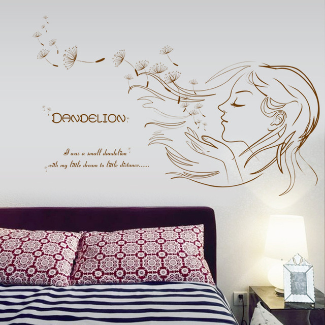 93x56cm Dandelion Girl Sex Decoration Wall Stickers Children Room Wedding Room  Bedroom Bedside Background Stickers Part 67