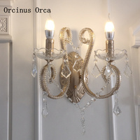 American luxury candle crystal wall lamp living room corridor bedside lamp European creative LED crystal wall lamp