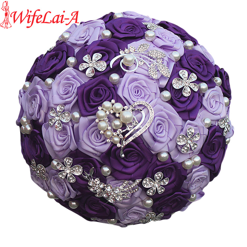 WifeLai-A Romantic Purple Heart Crystal Wedding Bouquet Durable Artificial Flowers Diamond Brooch Pearl Bridal Bouquets W125-ZI