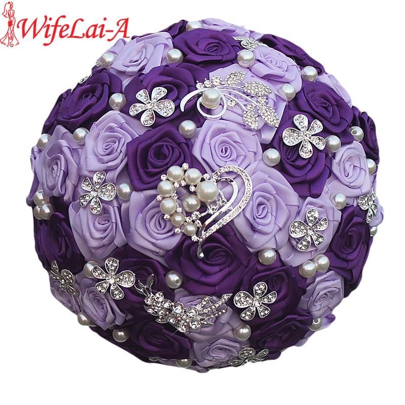 WifeLai-A Romantic Purple Heart Crystal Wedding Bouquet Durable Artificial Flowers Diamond Brooch Pearl Bridal Bouquets W125-ZI