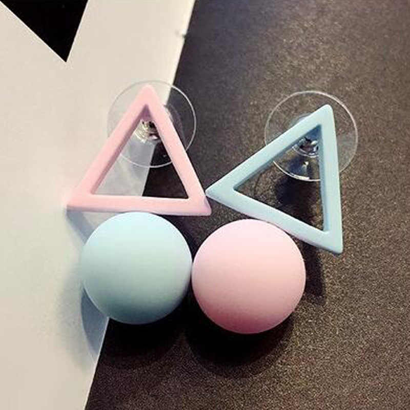 New Brand Different Geometry Cube Candy Color Stud Earrings For Women  Fashion Korean Earrings Jewelry brincos E1157