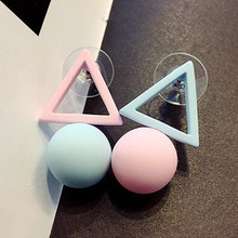 New Brand Different Geometry Cube Candy Color Stud Earrings For Women  Fashion Korean Earrings Jewelry brincos E1157-in Stud Earrings from Jewelry & Accessories on AliExpress