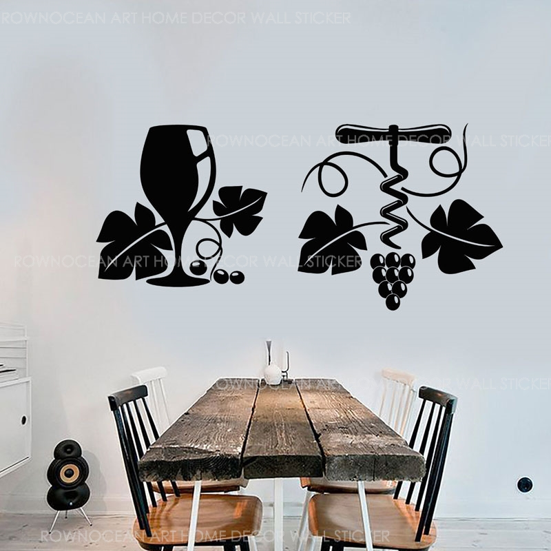 Grape Vine Grapes Wine Wineglass Corkscrew Vinyl Wall Stickers Home Decor Bar Decal Removable Interior Mural Wallpaper 3172 Wall Stickers Aliexpress